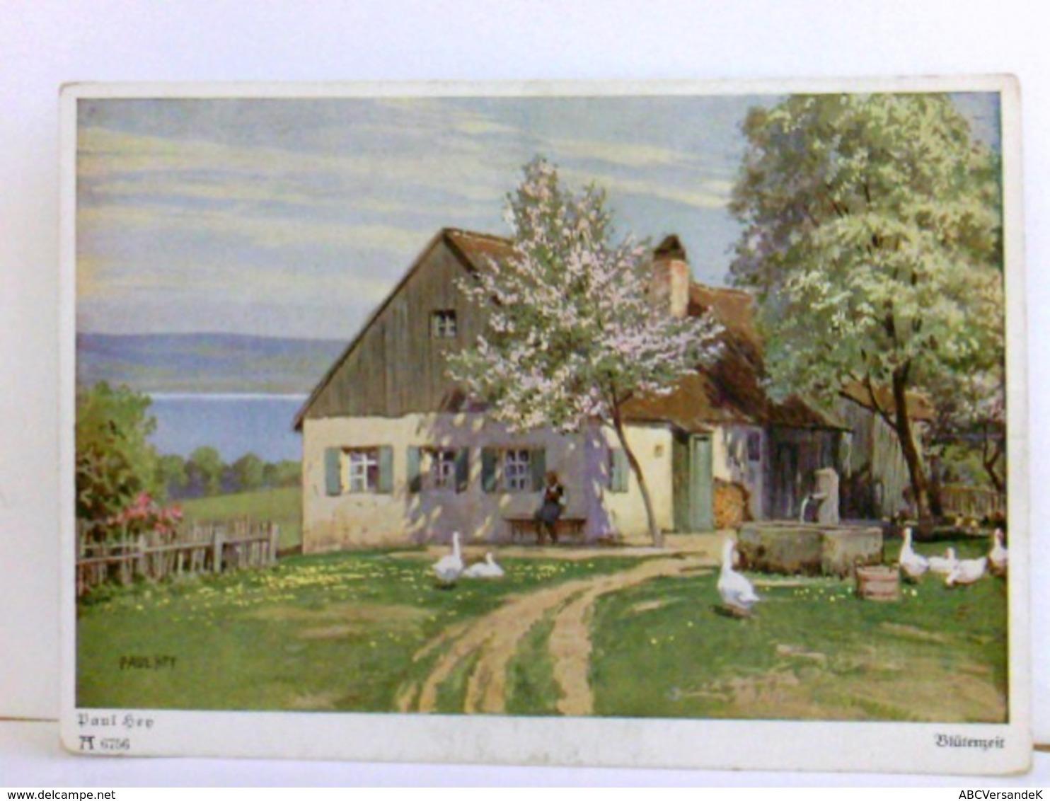 Künstler AK Von Paul Hey. Blütenzeit. Bauernhaus Am See, Gänse Auf Frühlingswiese, Frau Auf Bank, Brunnen - Books, Magazines, Comics