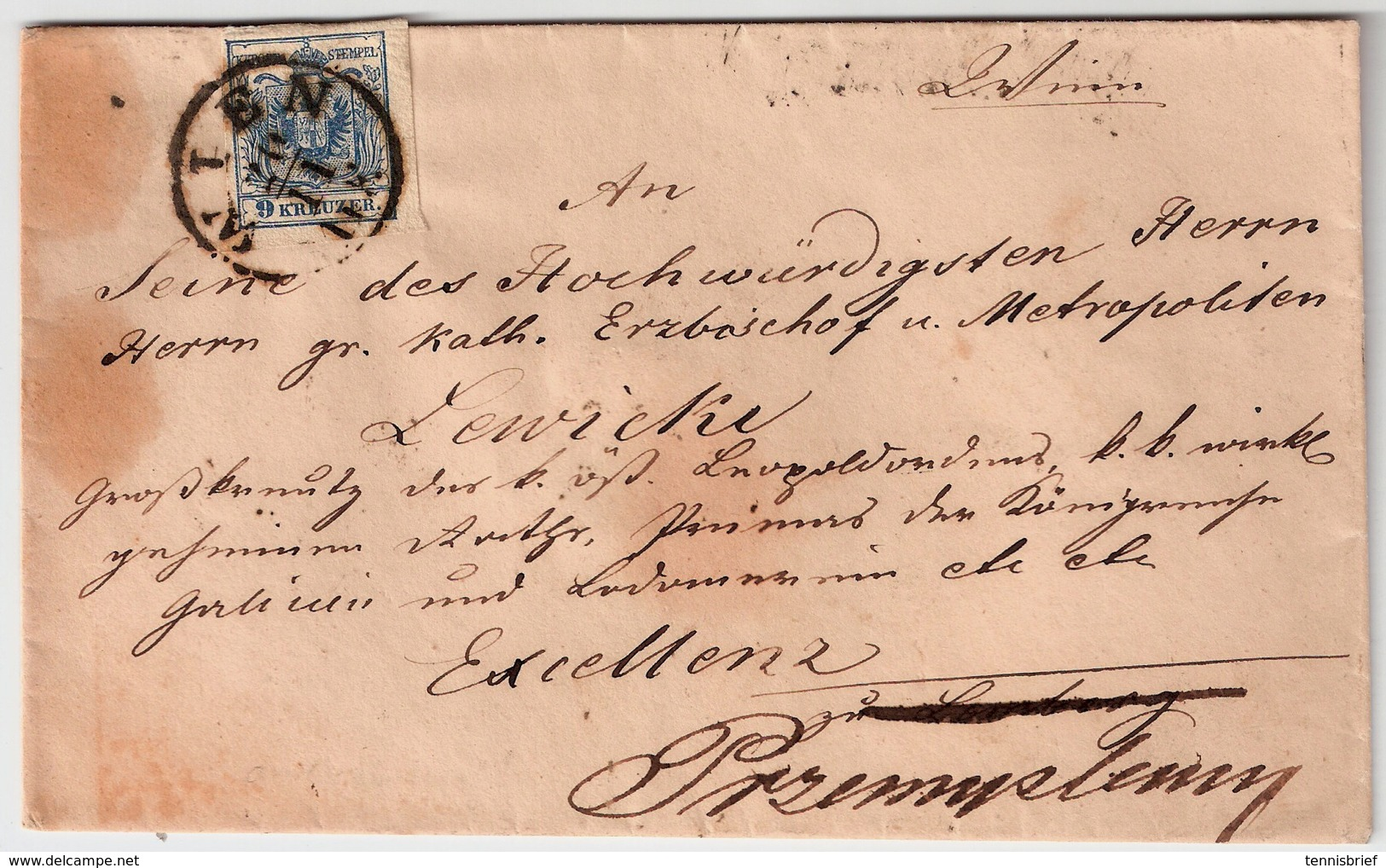 Ausgabe 1850, 9 Kr. , Brief An Erz-Bischof Von Lemberg !  , #a1016 - 1850-1918 Empire