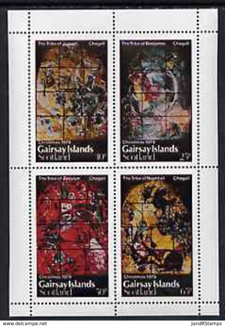 Gairsay 1979 Christmas (Chagall Stained Glass Windows) Perf  Set Of 4 Values (10p To 65p) U/m JUDAICA - Local Issues