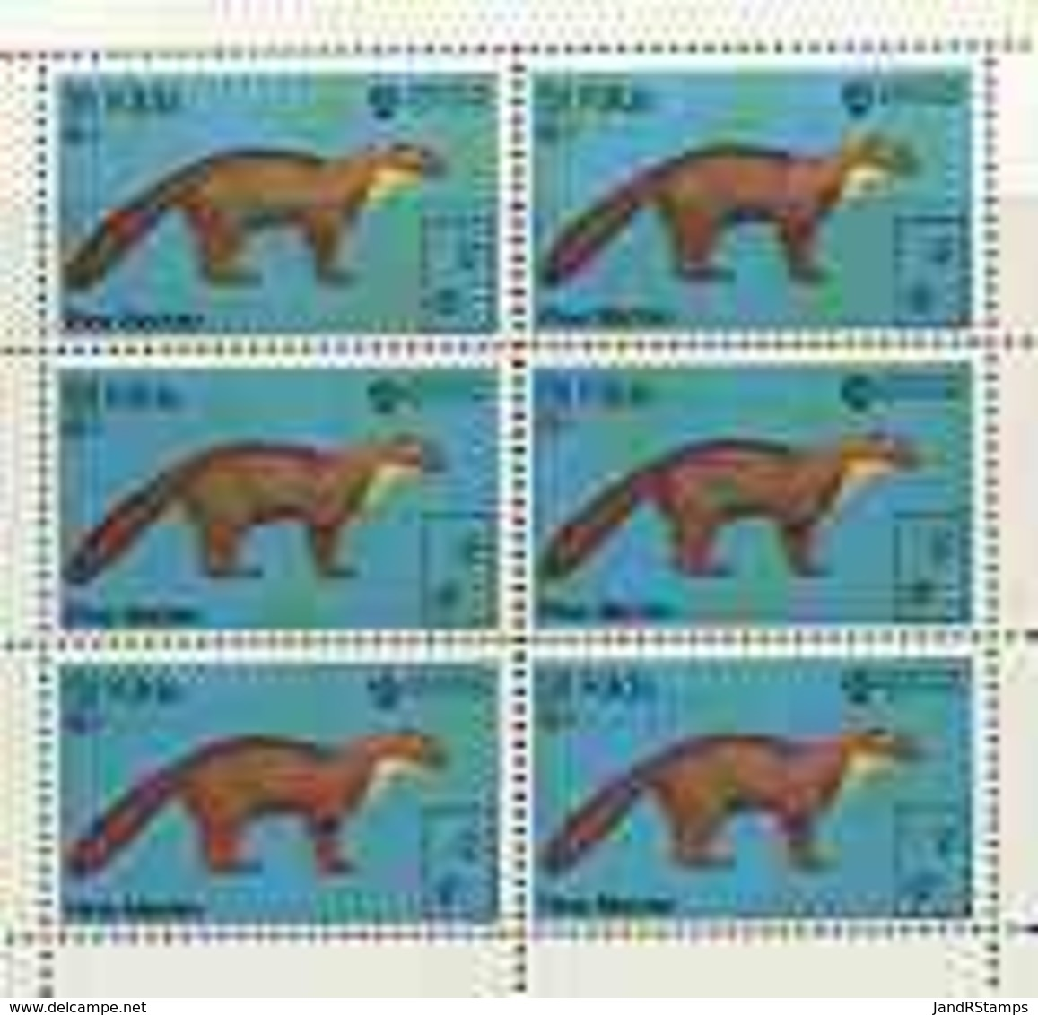 St Kilda 1970 Pine Marten 4s Complete Perf Sheetlet Of 6 (from Wildlife Set) U/m ANIMALS - Local Issues