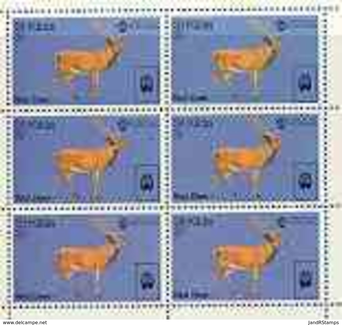 St Kilda 1970 Red Deer 3s Complete Perf Sheetlet Of 6 (from Wildlife Set) U/m ANIMALS - Local Issues