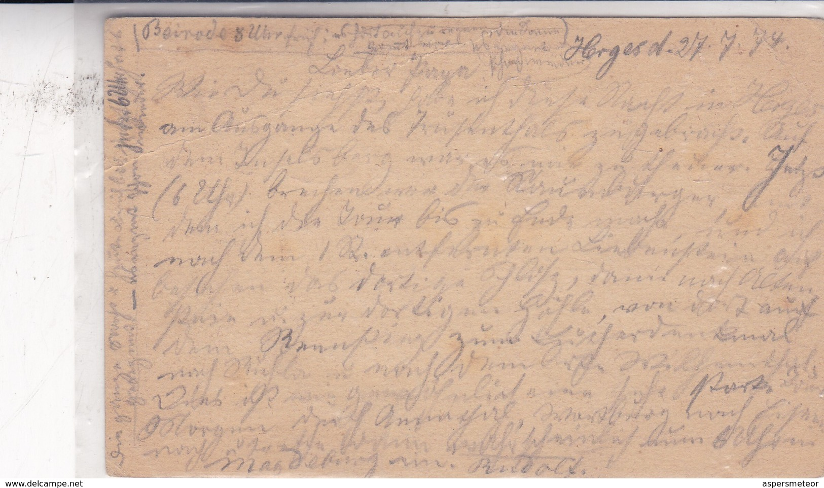 ENTERO ENTIER POSTAL STATIONERY CIRCULEE YEAR 1874 GERMANY- BLEUP - Ganzsachen