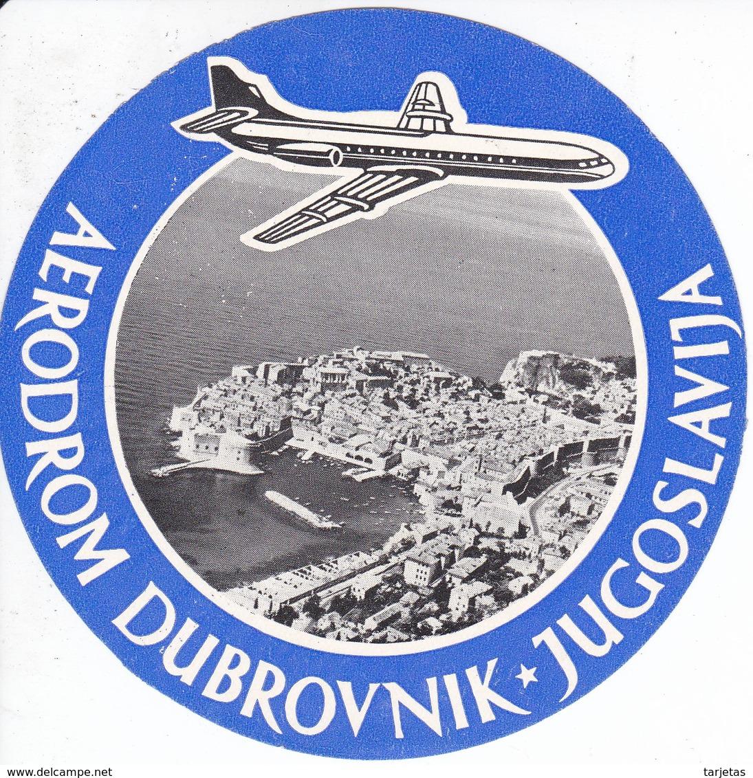 ANTIGUA ETIQUETA DEL AERODROMO DUBROVSNIK   (AVION-PLANE) JUGOSLAVIJA - Étiquettes à Bagages