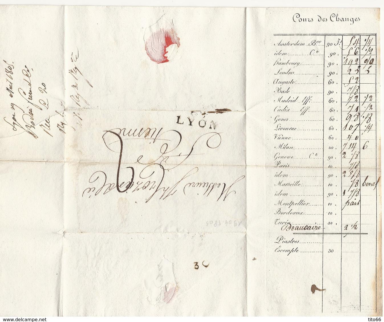 Lettre Avec Texte De Lyon Vers ST Etienne Du 19 Avril 1805 - Postmark Collection (Covers)