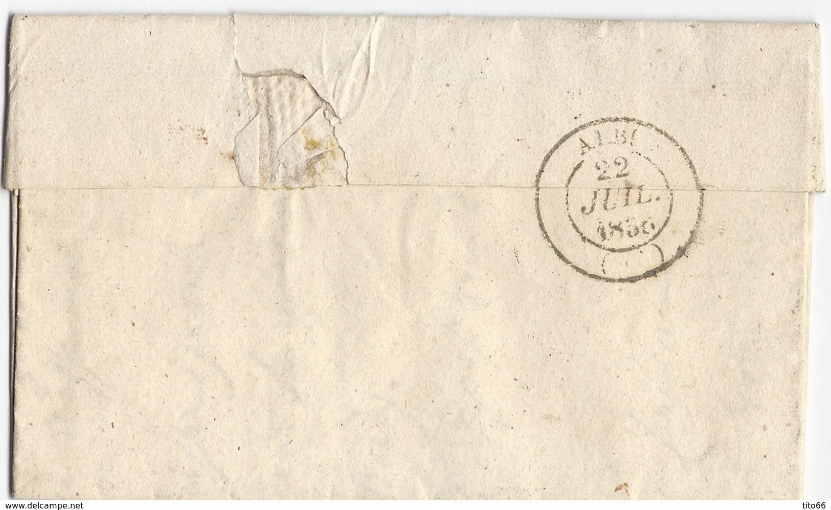 Lettre Avec  Texte De Carcassonne Vers Albi 20 Juillet 1836 - 1801-1848: Precursors XIX