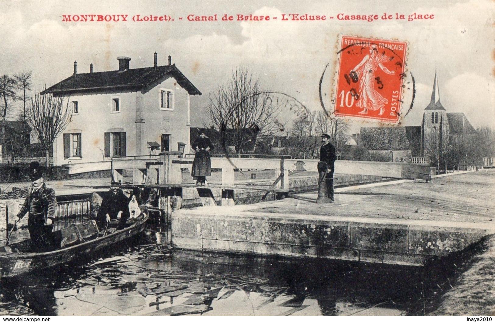 CPA RARE - Batellerie - 45 - MONTBOUY - Canal De Briare - L'Ecluse - Cassage De La Glace - France