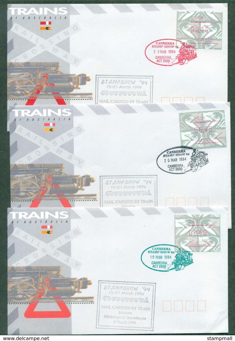 Australia 1994 Canberra Stamp Show FRAMA,Carried By Train Canberra 3x FDC Lot52476 - 1990-99 Elizabeth II