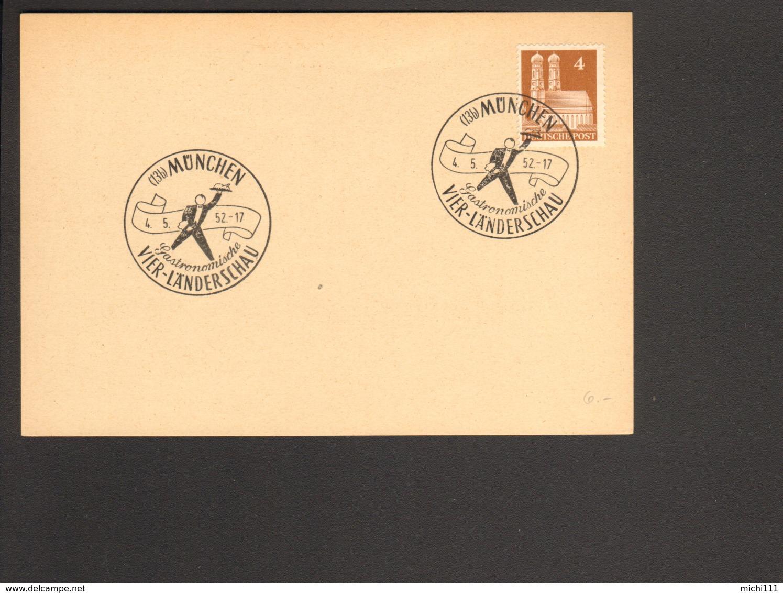 Bizone 4 Pfg. Bauten Auf Blanko Postkarte Mit Sonderstempel Gastronomische Vier-Länderschau München 1952 - Bizone