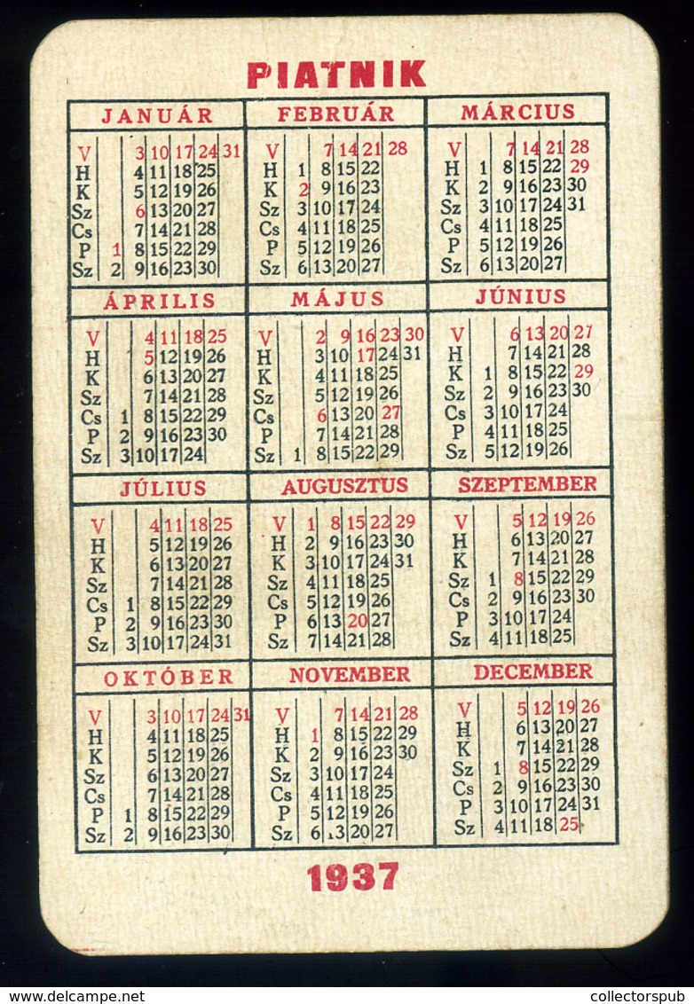PIATNIK Kártyanaptár, 1937.  /  PIATNIK Card Calendar 1937 - Unclassified