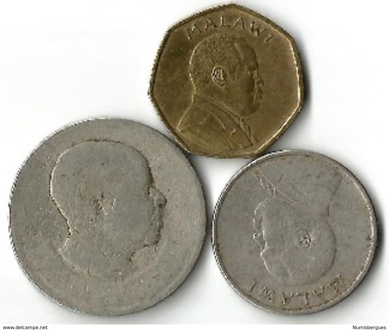 Lot 3 Pièces De Monnaie    10-50 Tambala  Et 1 Florin - Malawi