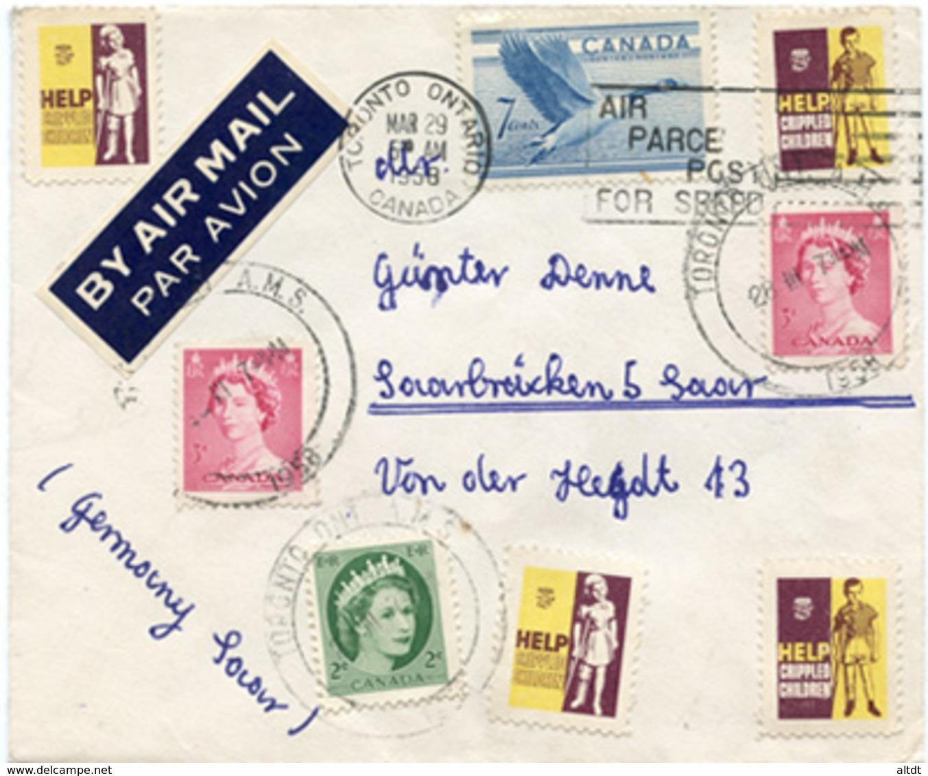 (e839) Brief Canada St. Toronto N. Saarbrücken - 1952-.... Elizabeth II