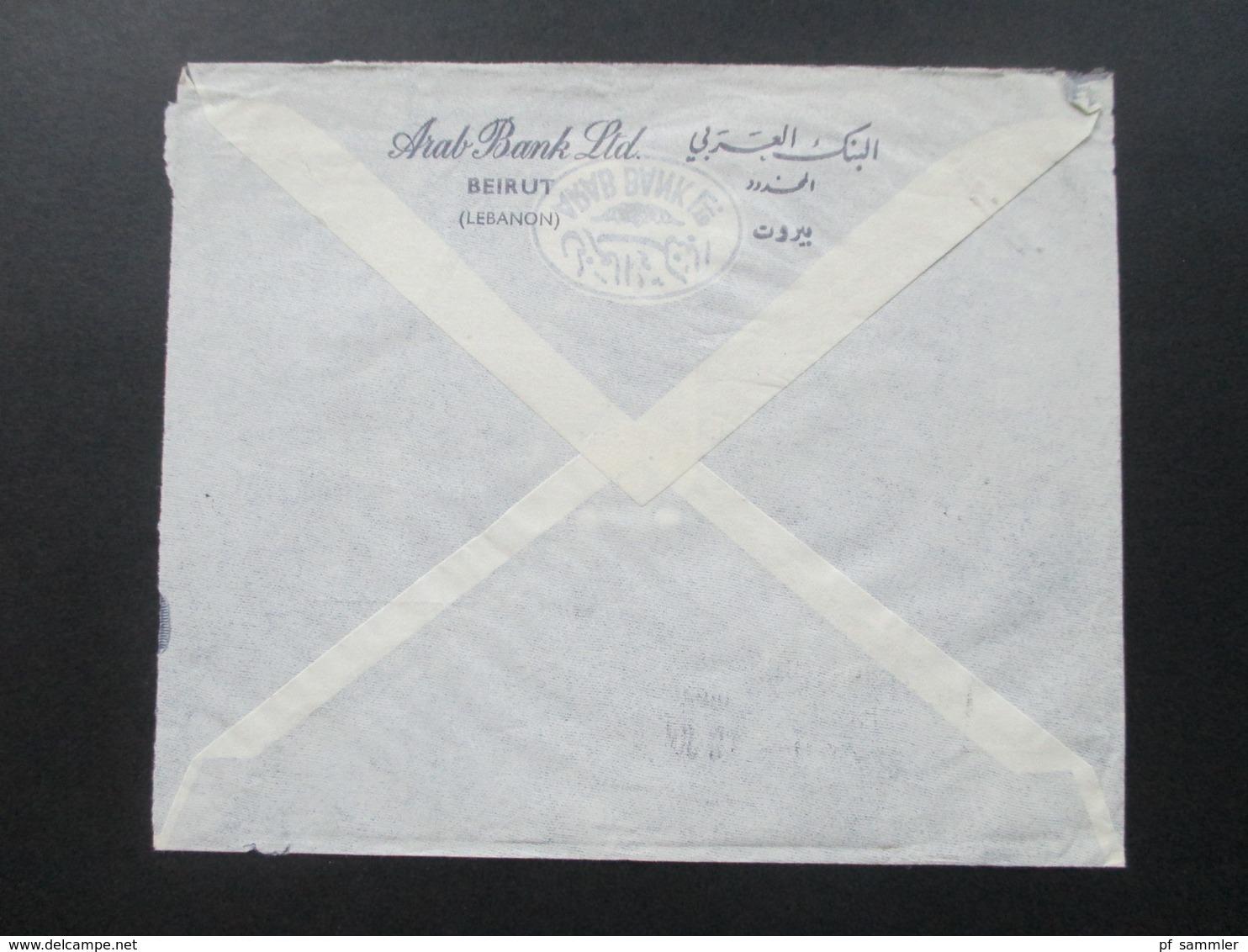 Libanon 1963 Luftpost / Air Mail Arab Bank Ltd. Beirut. Motivmarken Früchte / Obst. An Die Deutsche Bank Hannover - Libanon