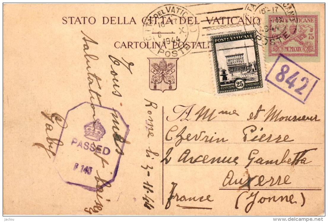 CARTE POSTALE VATICAN ,VOIR OBLITERATIONS ,CACHET REF 57244 - Italy