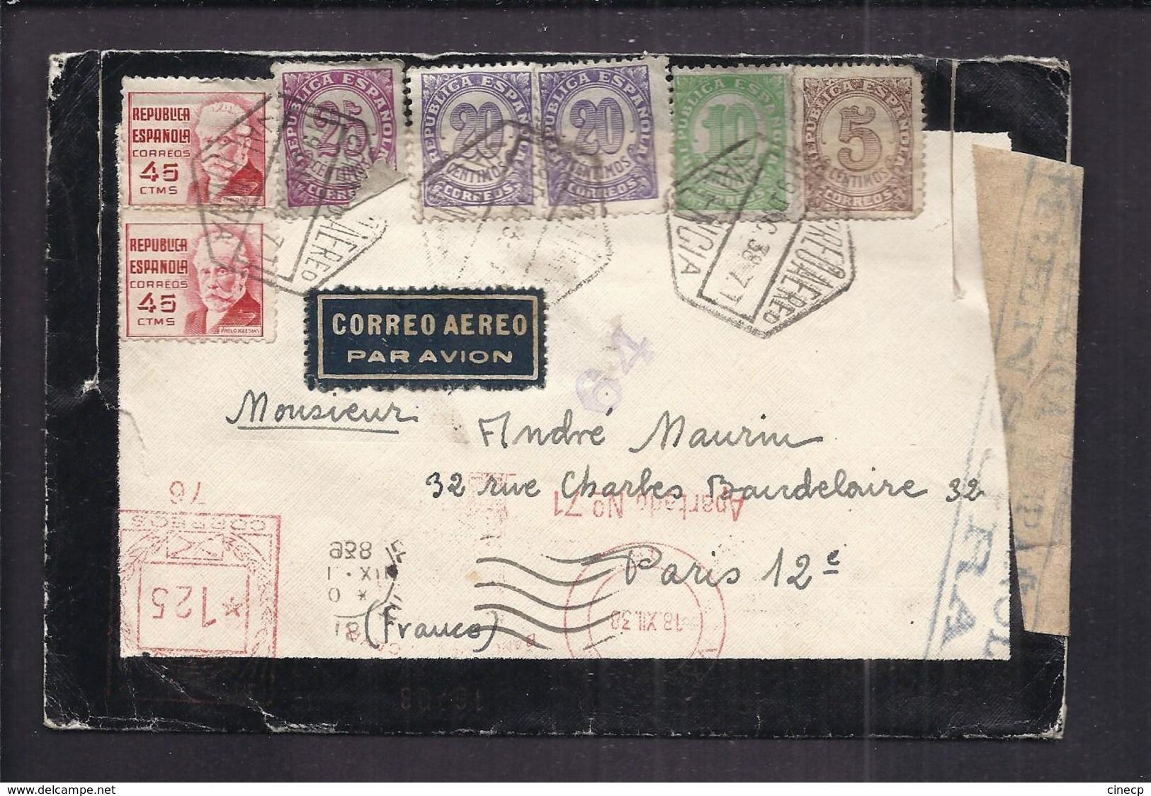 ENVELOPPE GUERRE ESPAGNE 1938 Cachet De Censure REPUBLICA ESPANOLA VALENCIA CORREO AEREO AEROGRAMME - Bolli Di Censura Repubblicana