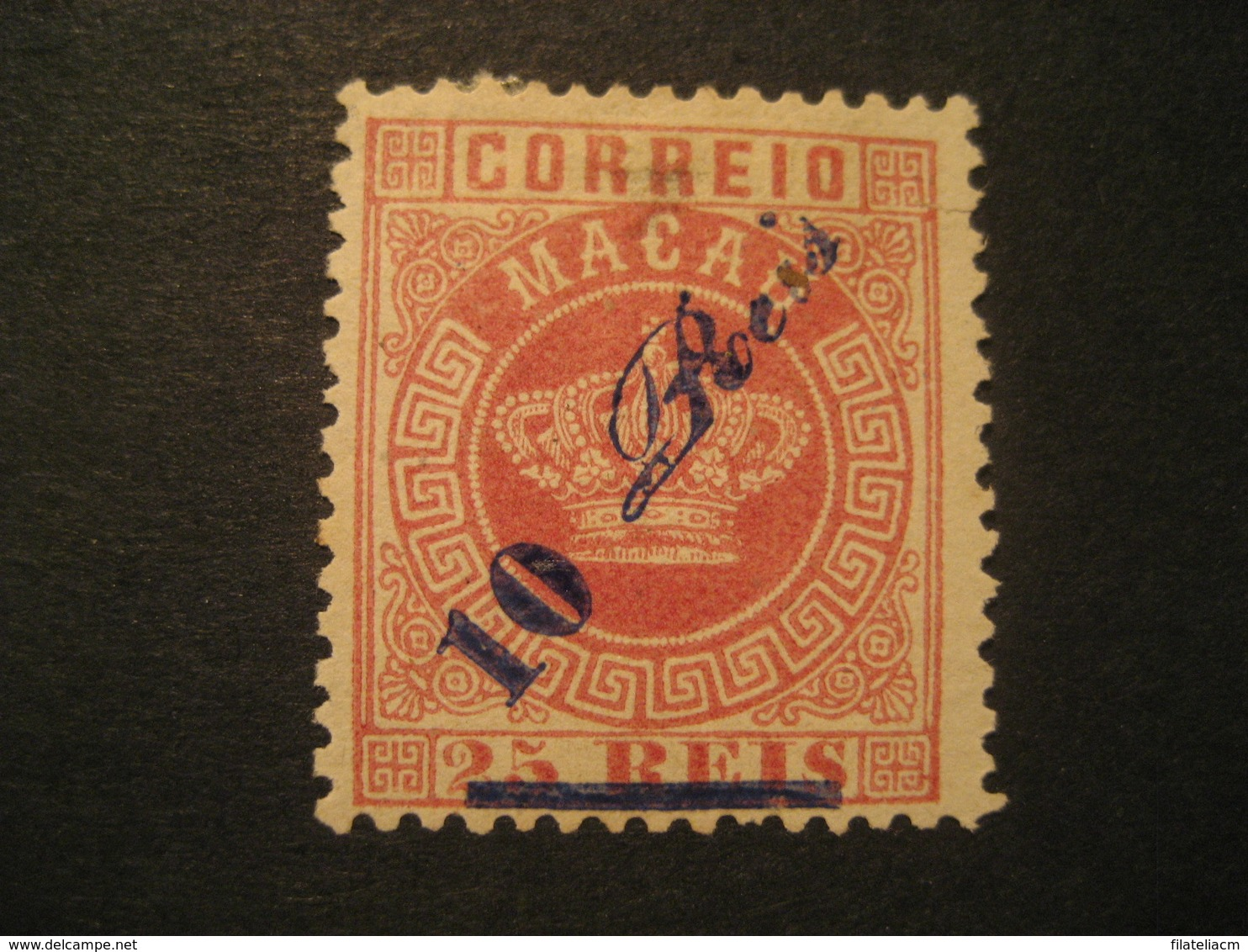 10 O.p. 25 Reis MACAU 1885 Yvert 12 Mark Sign On Back Stamp Macao Portugal China Area - Neufs