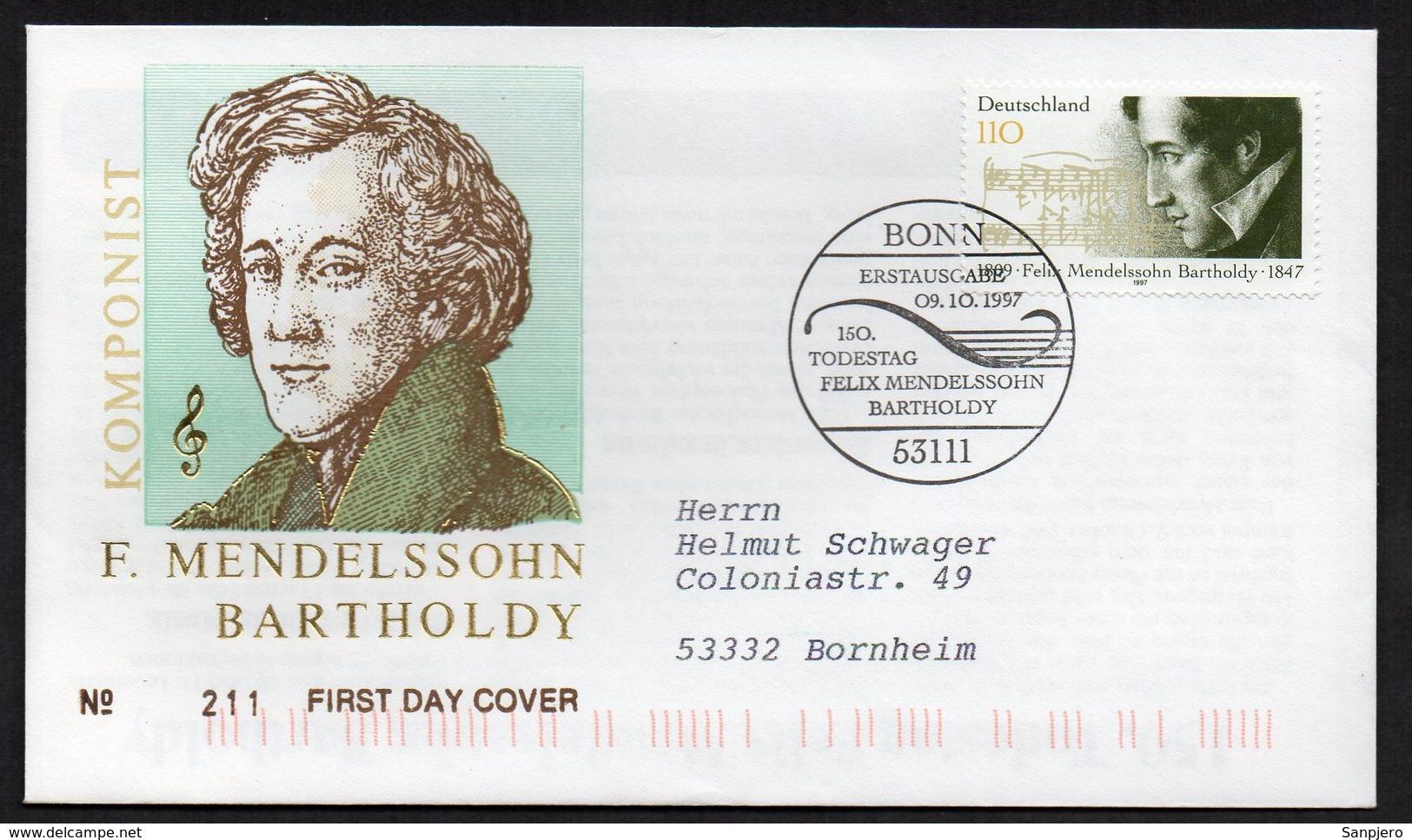 FELIX MENDELSSOHN BARTHOLDY, FDC 1€ - Celebrità