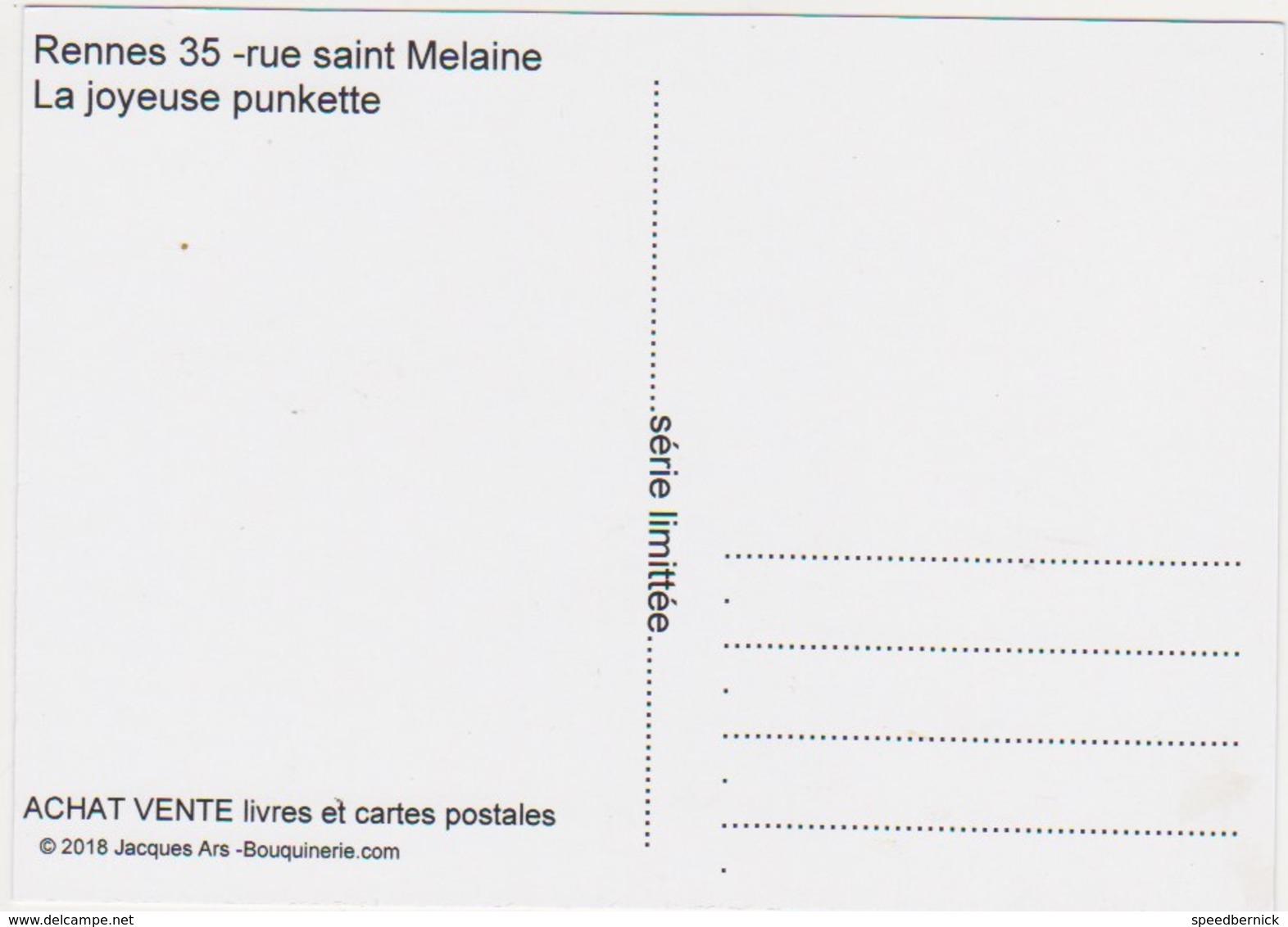 Rennes 35 CPM Rue Saint Melaine -la Joyeuse Punkette  -Ars 2018-punk Chien Friking - Sdf - Rennes