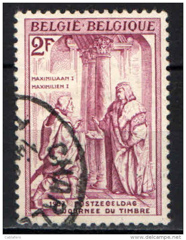 BELGIO - 1957 - MASSIMILIANO I E IL MESSAGGERO - INCISIONE DI BURKMAIR - USATO - Oblitérés