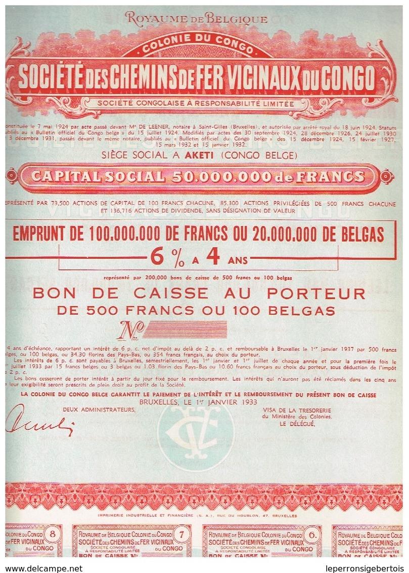 Bon De Caisse Uncirculed - Société Des Chemins De Fer Vicinaux Du Congo - Titre De 1932 - Chemin De Fer & Tramway