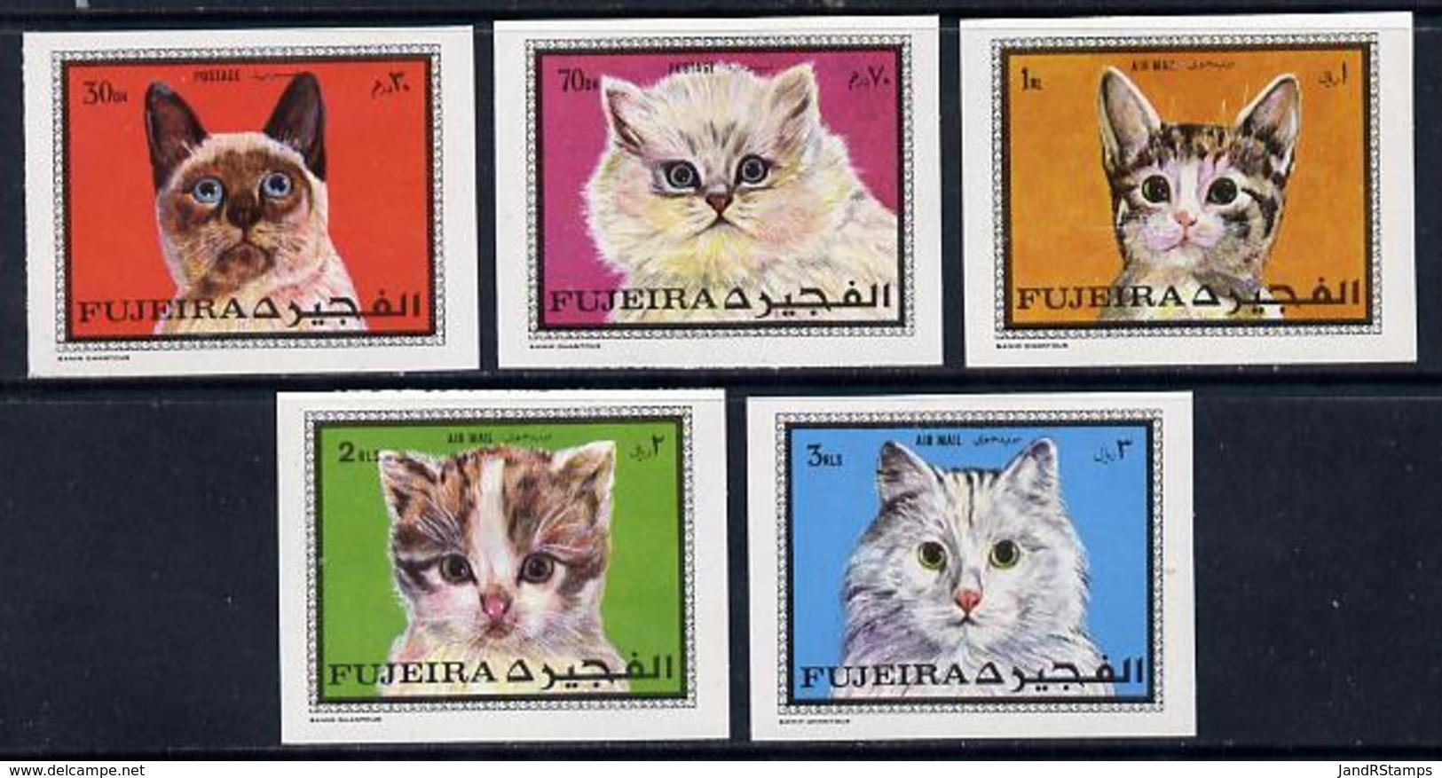 Fujeira 1970 Cats Imperf Set Of 5 U/m (Mi 588-92B)  ANIMALS - Fujeira