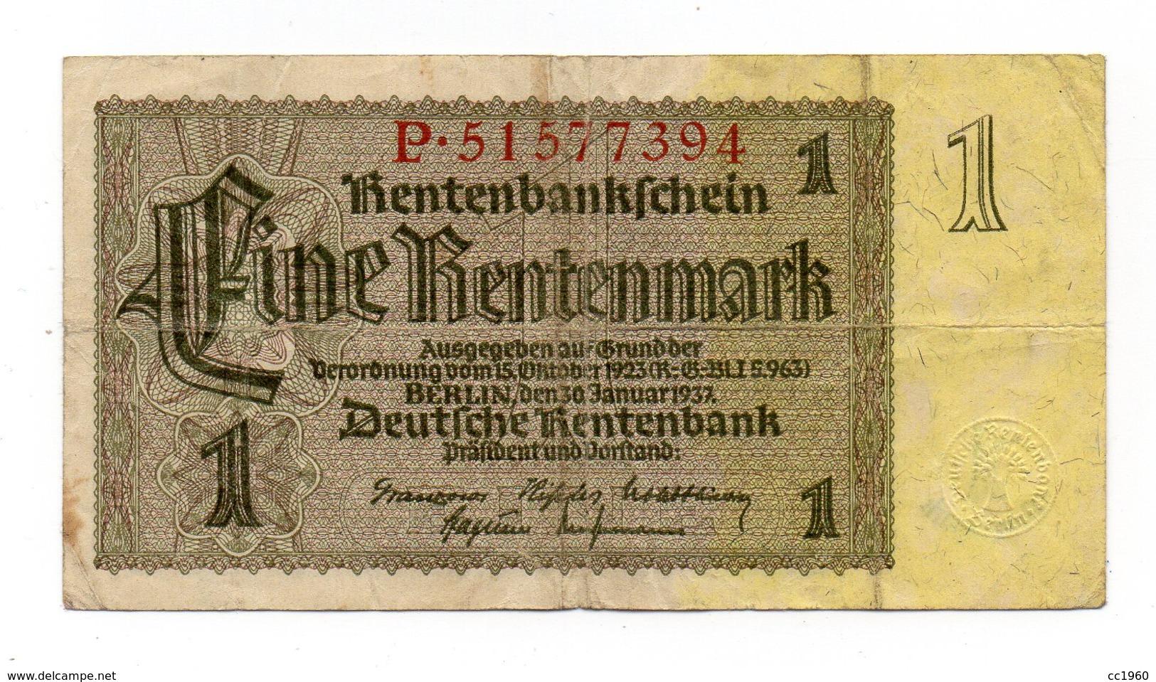 Germania - 1937 - Banconota Da 1 Marco - Usata - (FDC12162) - [ 4] 1933-1945 : Terzo  Reich