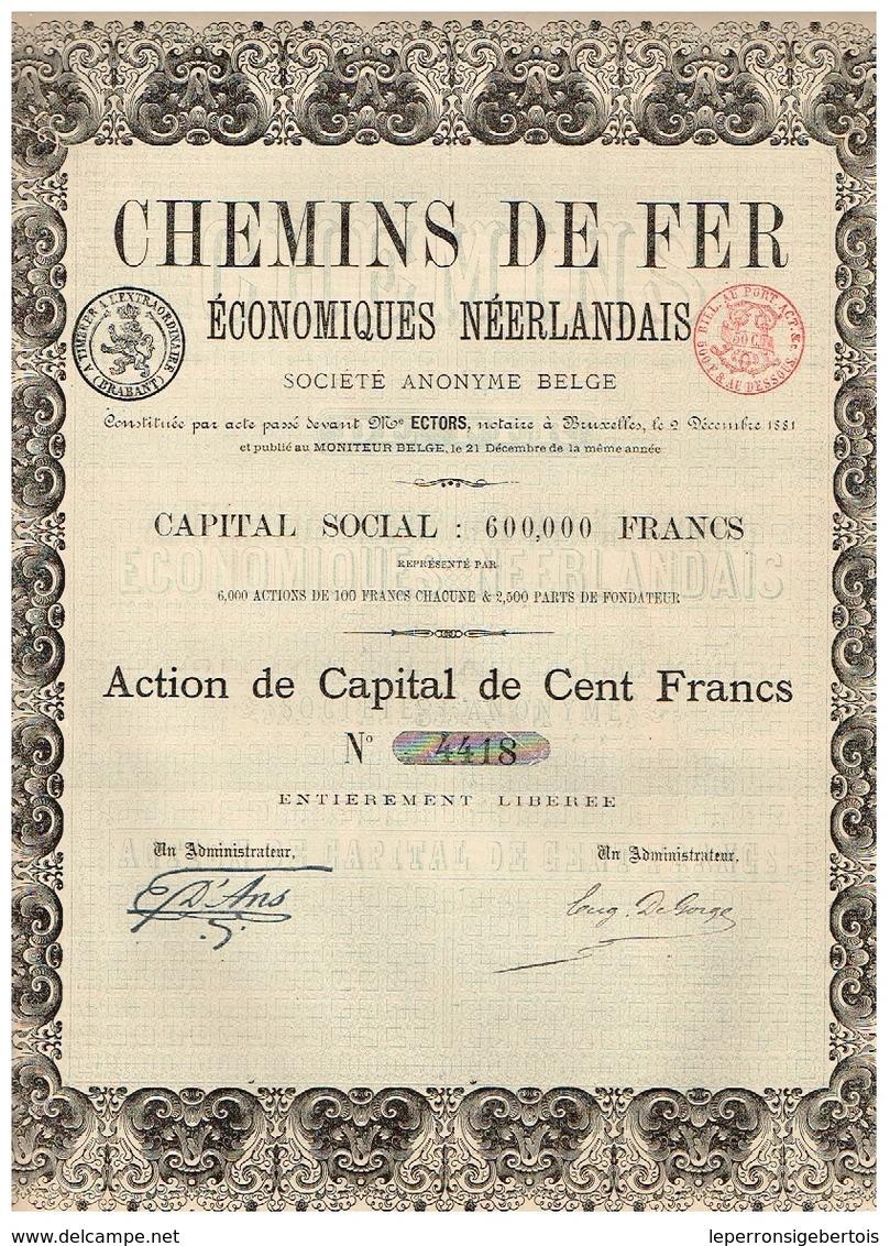 Action Ancienne - Chemins De Fer Economiques Néerlandais - Titre De 1881 - Rare - Chemin De Fer & Tramway