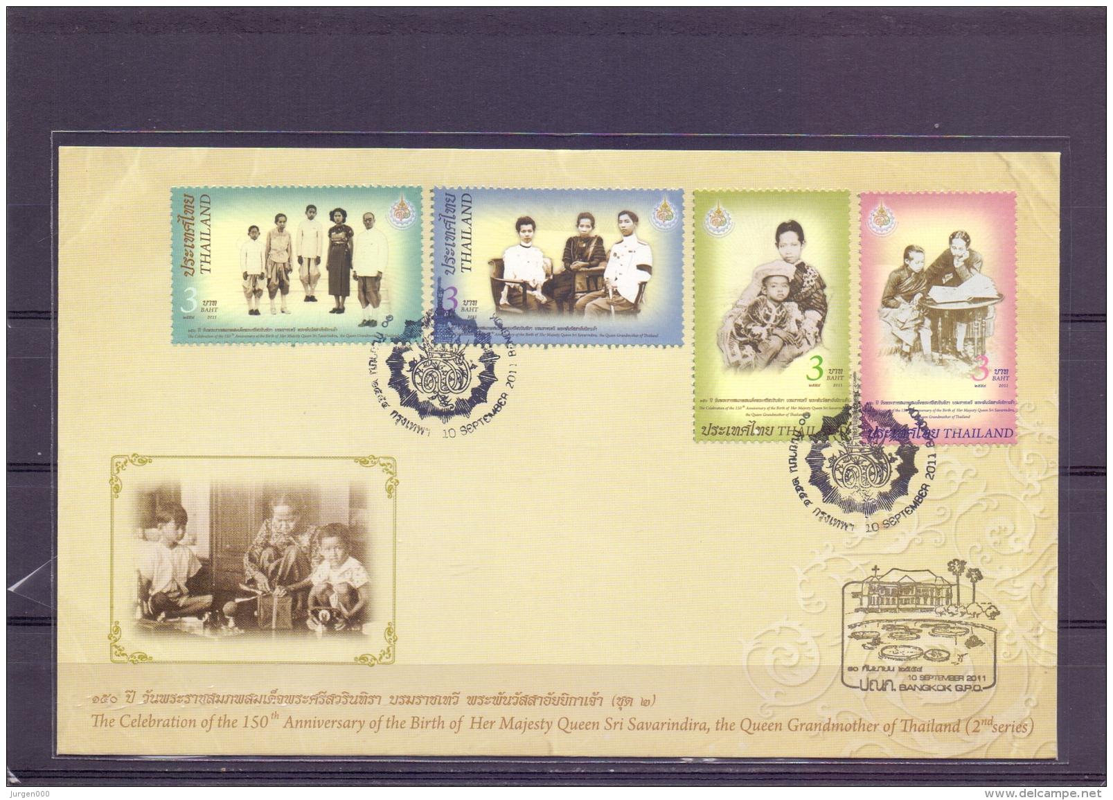 Celebration 150th Anniversary BVirth Queen Sri Savarindira - FDC - Michel 3113-16 - Bangkok 10/9/2011  (RM13719) - Thaïlande
