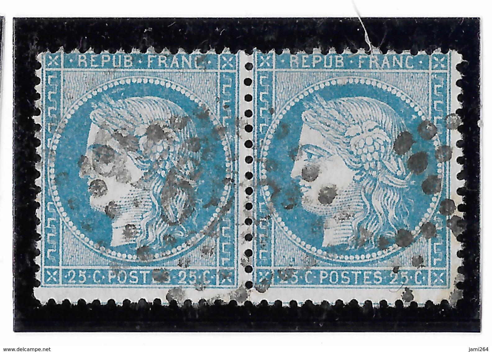 TIMBRES N° 60/1 ;  PAIRE  16/17  B2  ,BIEN CENTRÉS, TTB - 1871-1875 Cérès