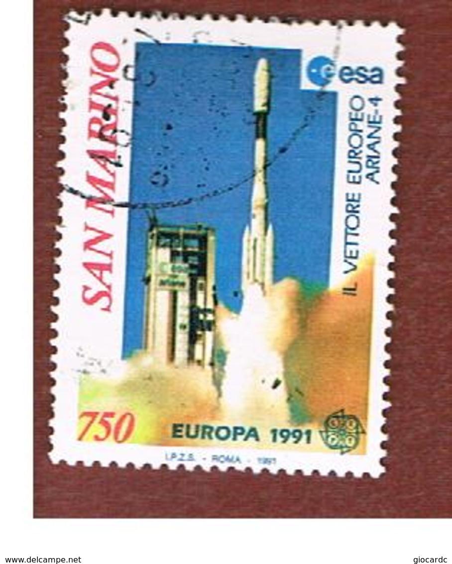 SAN MARINO - UNIF. 1309  - 1991  EUROPA: LO SPAZIO  (VETTORE ARIANE 4)           -  USATI (USED°) - San Marino