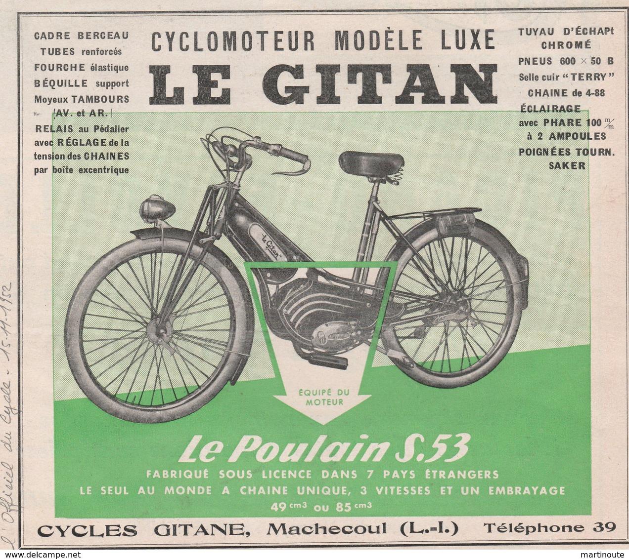 Cyclomoteur LE GITAN - Cycle Gitane à MACHECOUL 44 - Motos