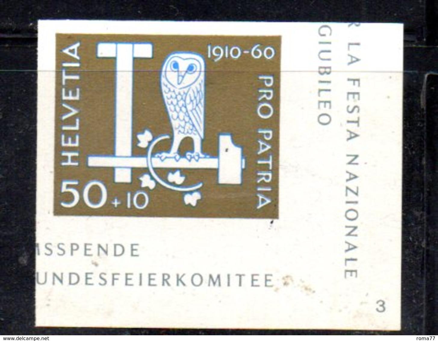 533/1500 - SVIZZERA 1960 ,  Unificato N. 665A  ***  MNH 50mo Pro Patria - Nuovi