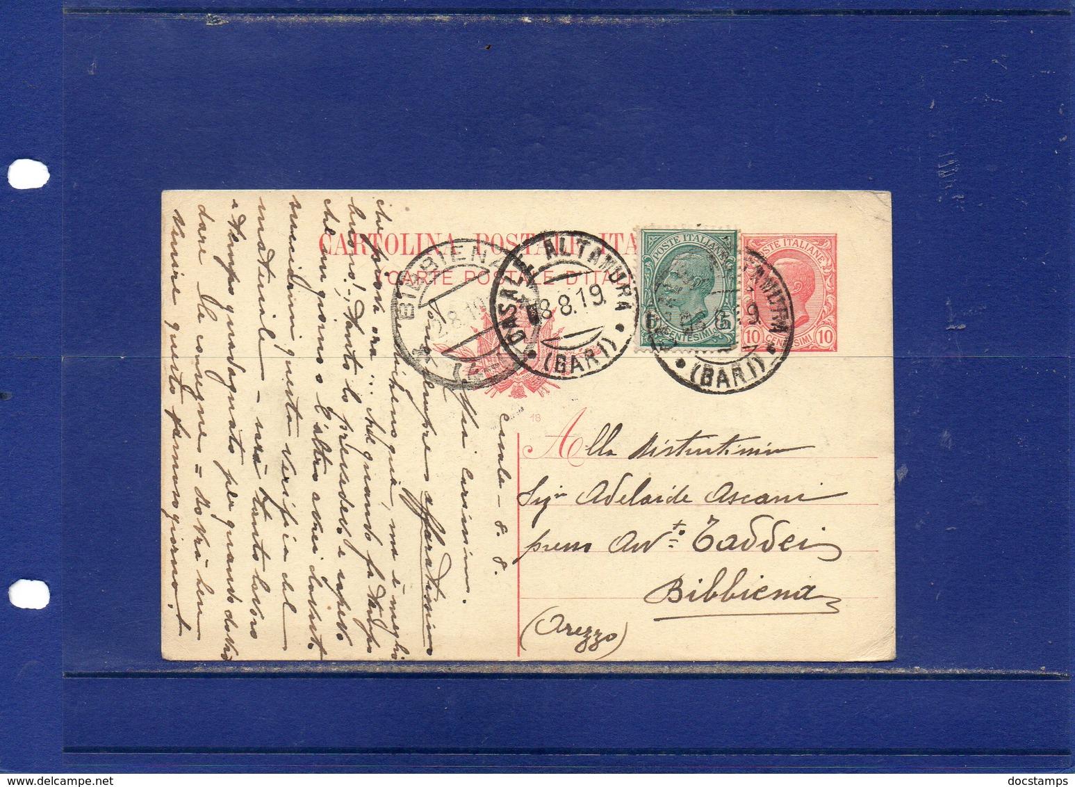 ##(DAN189)-1919-Cartolina Post Cent.10 Mill.18 Filagrano C39 Da  Casale Altamura (Bari) Per Bibbiena-Arezzo - Marcofilía