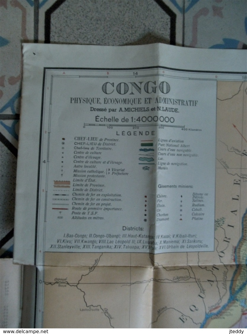Kaart CONGO       Phy.  Econo.  Et Admini .  Plus   3 Stuks           Studie   Papieren - Cartes