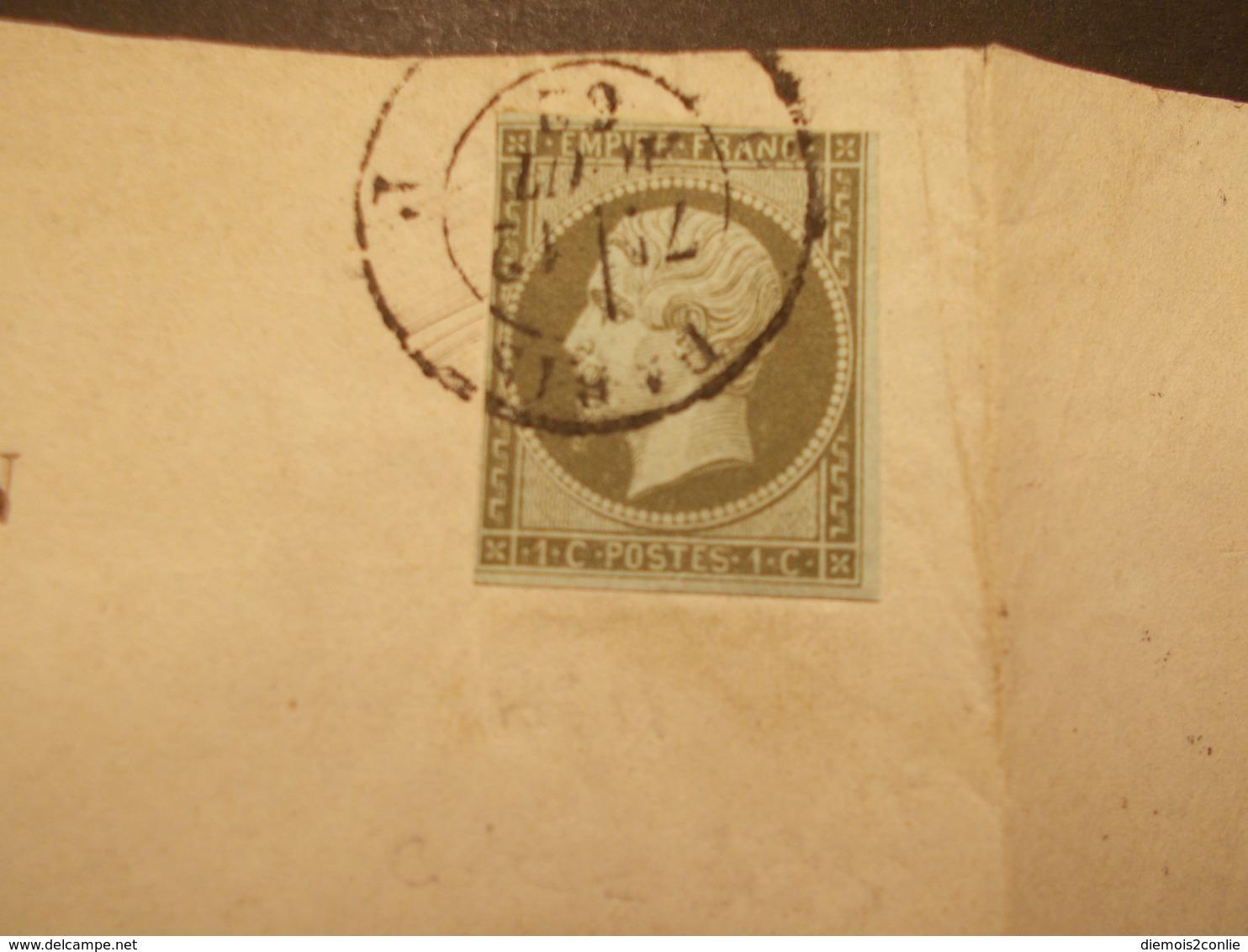 Très RARE - Marcophilie Timbre N°11 Sur Document Office Brevets D'Invention - 1862 - (2141) - 1849-1876: Période Classique