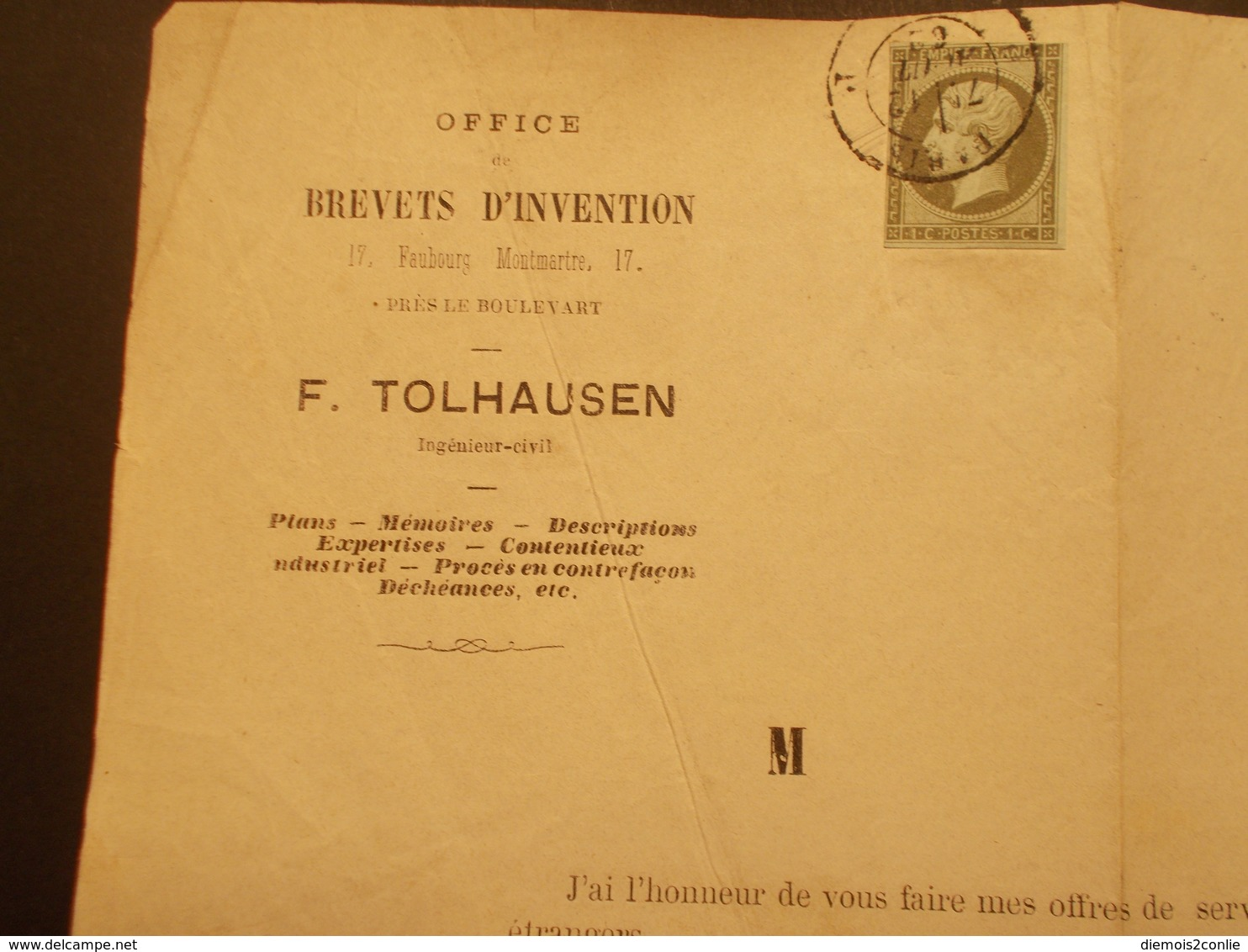 Très RARE - Marcophilie Timbre N°11 Sur Document Office Brevets D'Invention - 1862 - (2141) - Marcophilie (Lettres)