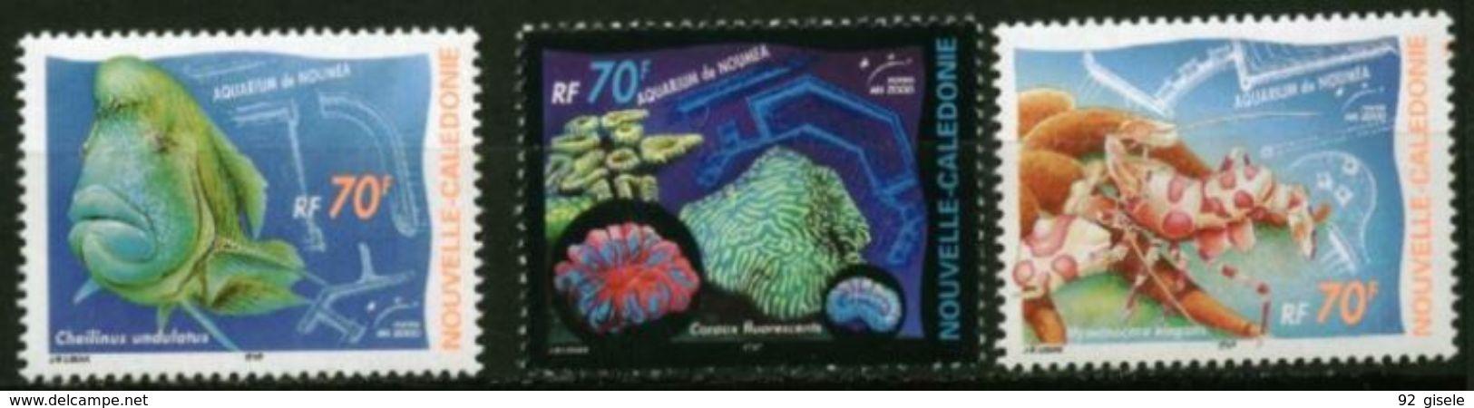 "Nle-Caledonie YT 815 à 817 "" Aquarium Nouméa "" 2000 Neuf** - Nuova Caledonia"
