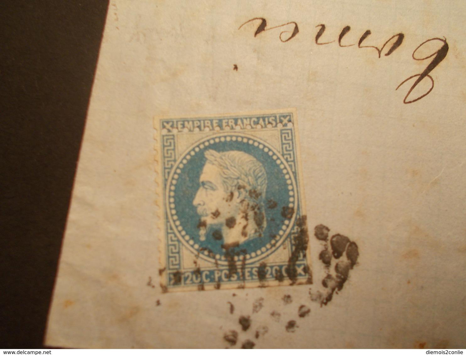 Très RARE - Marcophilie Timbre N°29 II Dentelé 1 Côté + Piquage à Cheval - 1867 - (2142) - Marcophilie (Lettres)