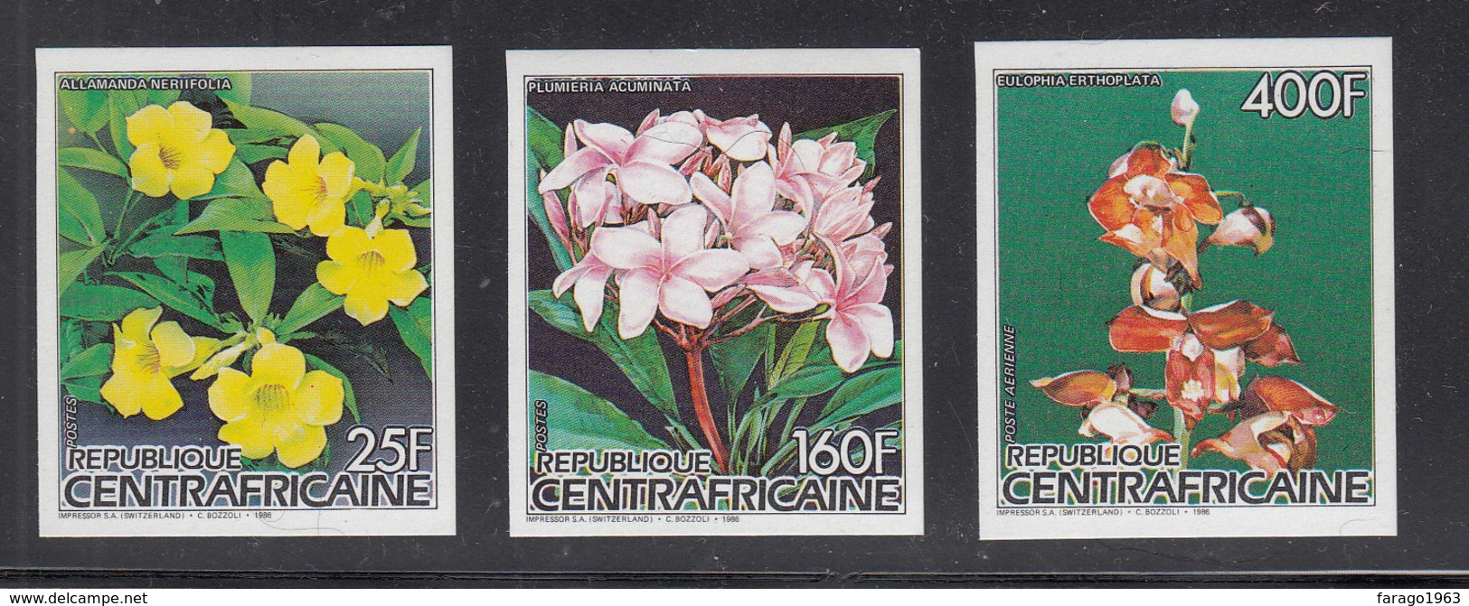1986 Central African Republic Flowers Set Of 3 Imperf Non Dentale MNH - Zentralafrik. Republik
