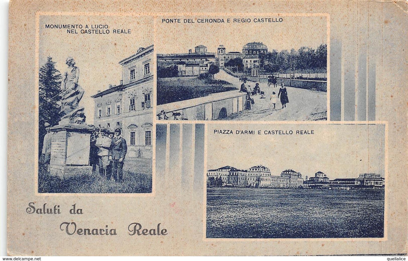 "0425 ""(TO) SALUTI DA VENARIA REALE - NR 3 VEDUTE"" ANIMATA, MILITARI, FOTO BERRETTA.   CART   SPED 1940 - Italie"
