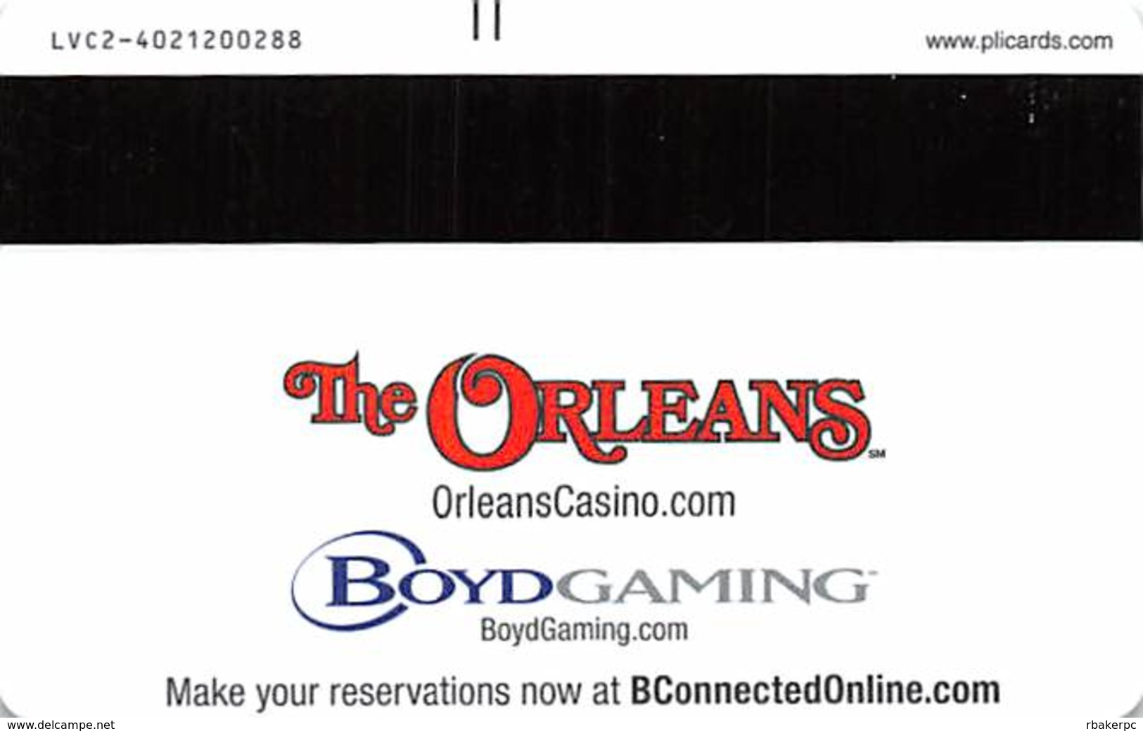 Orleans Casino Las Vegas, NV Hotel Room Key Card With LVC2-4021200288 - Hotel Keycards