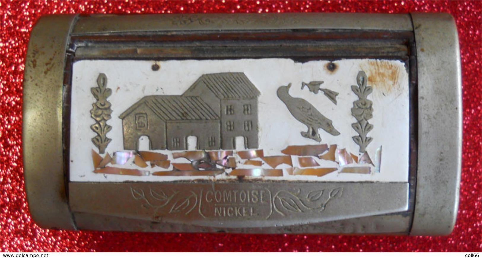 Magnifique Tabatière Ou Boîte à Priser Tabac Ancienne Pub Comtoise Nickel Antique Snuf Box Tobacco - Boites à Tabac Vides