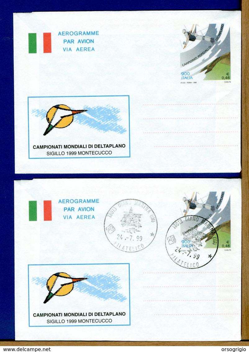 ITALIA - Cartolina Intero Postale - FDC - AEROGRAMME - CAMPIONATI MONDIALI DELTAPLANO 1999 - 6. 1946-.. Repubblica
