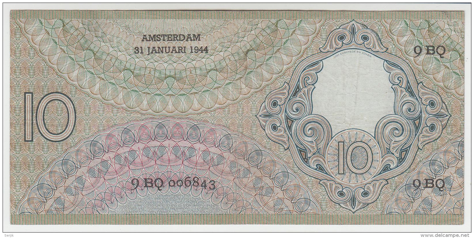Netherlands 10 Gulden 1944 VF+ Pick 59 - 10 Gulden