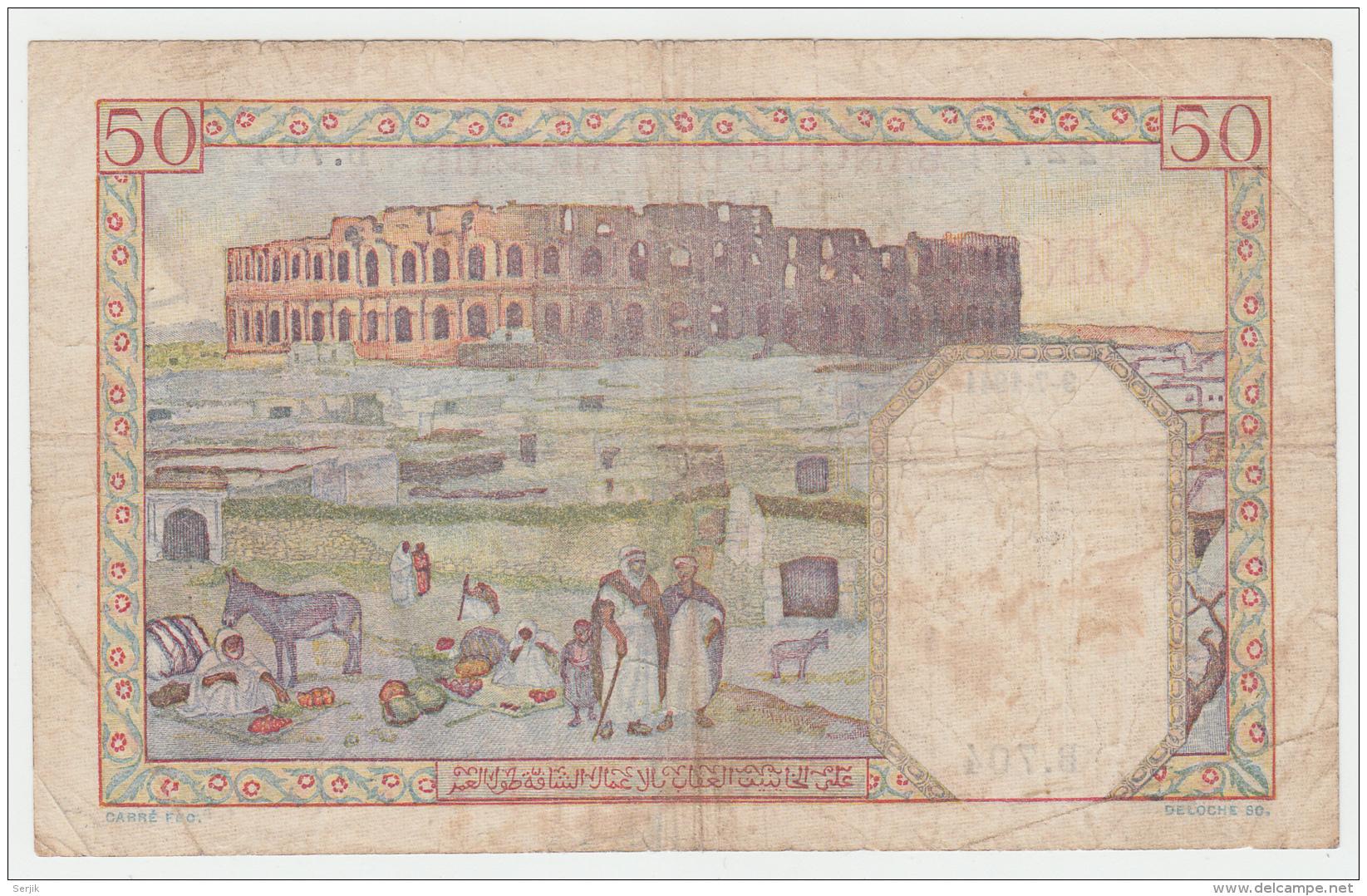 Tunisia Tunisie 50 Francs 1941 VG Pick 12 - Tunisia