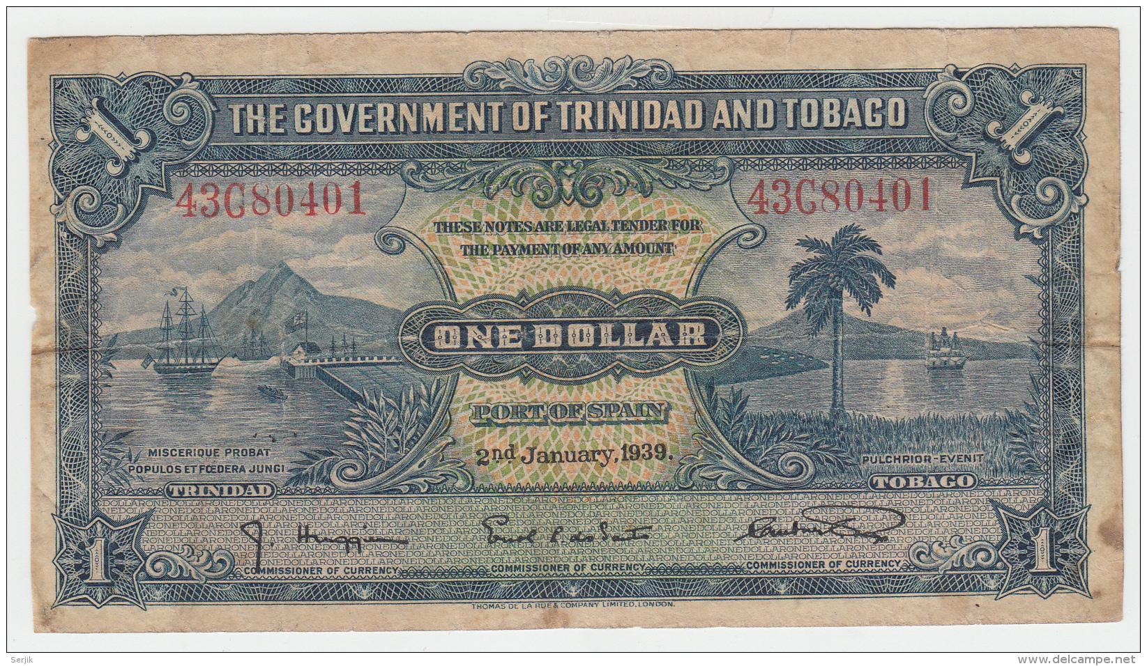 """TRINIDAD & TOBAGO 1 Dollar 1939 """"""""F"""""""" Banknote Pick 5b 5 B - Trinidad & Tobago"""