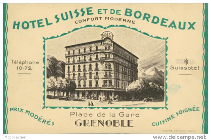 38 GRENOBLE / Hotel Suisse Et De Bordeaux  Place De La Gare / - Grenoble