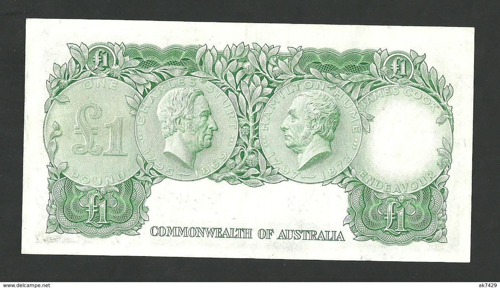 AUSTRALIA 1 POUND 1960 COOMBS-WILSON PREFIX HK/15 PICK#34a VF+ BANKNOTE - 1960-65 Reserve Bank Of Australia
