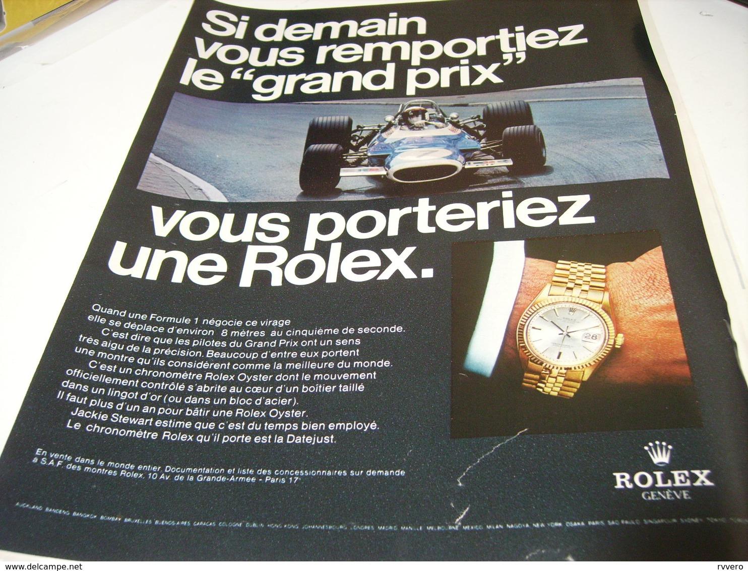 PUBLICITE AFFICHE MONTRE ROLEX  ET GRAND PRIX 1969 - Autres