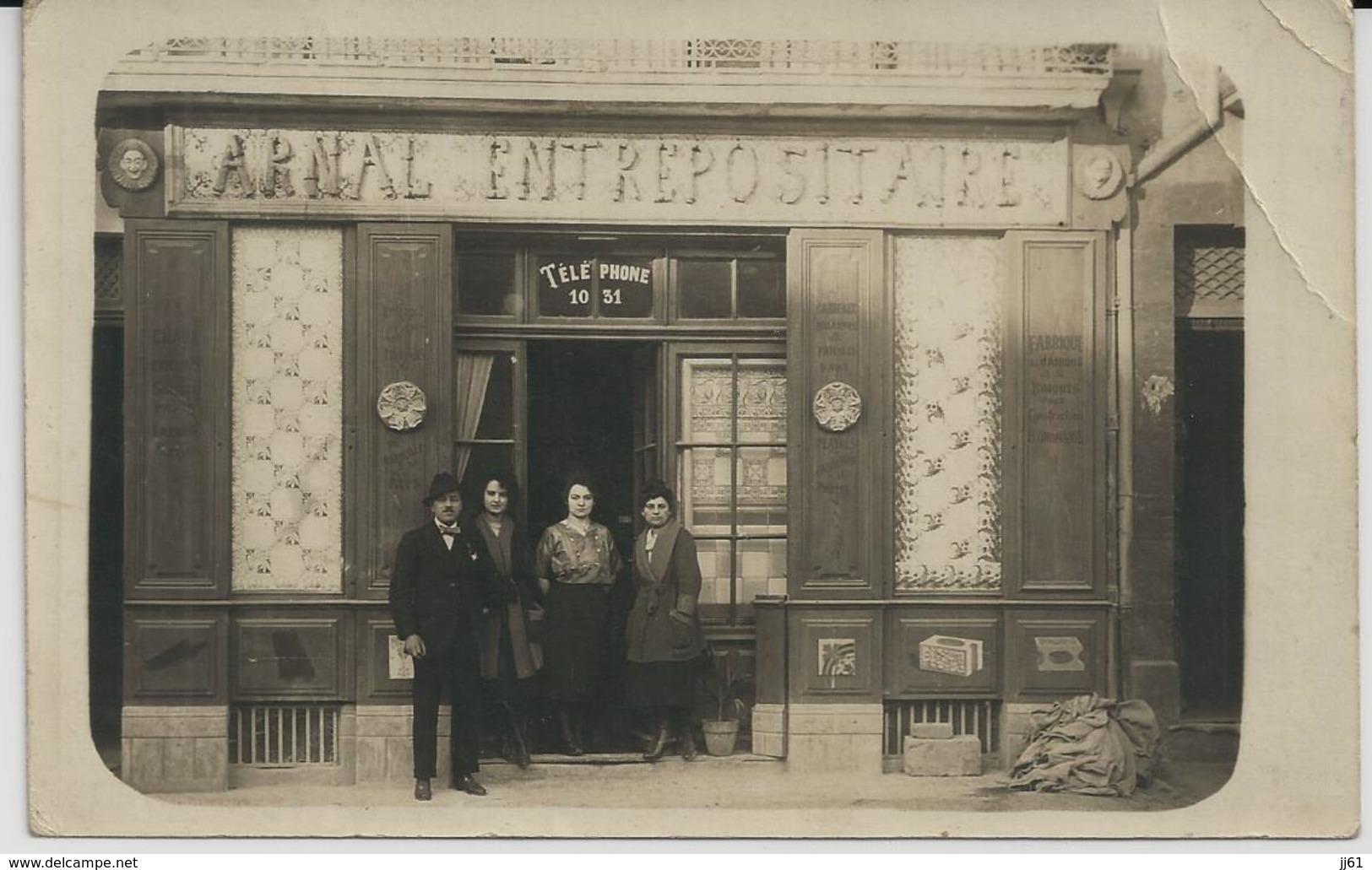 BEZIERS CARTE PHOTO BOUTIQUE FACADE VITRINE JOSEPH ARNAL FABRIQUE DE CAIRONS ORNEMENTES POUR VILLAS MODERNES ANNEE 1920 - Beziers