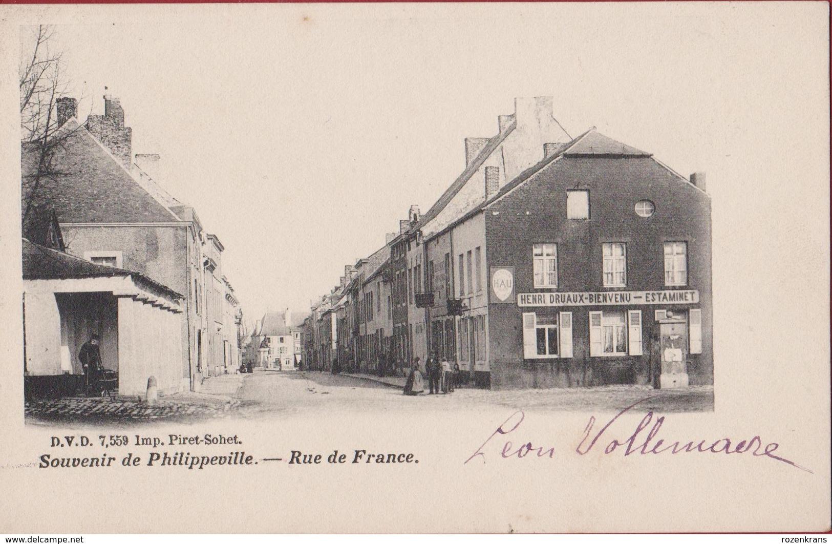 Souvenir De Philippeville Rue De France Animee Geanimeerd Estaminet Cafe Biere (En Très Bon Etat) (In Zeer Goede Staat) - Philippeville